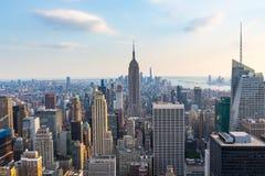 Manhattan - sikt från överkanten av vagga - Rockefeller mitt - New York royaltyfri foto