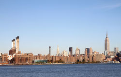Manhattan Skyline. View of lower Manhattan, showing well known skyscrapers and a power plant from across the East River Royalty Free Stock Photography