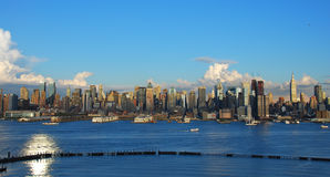 Manhattan Skyline. View of the Manhattan skyline from atop the Palisades Cliffs.  The cliffs are approximately 300 feet above sea level and give a unique Royalty Free Stock Photos
