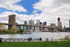 Manhattan Skyline. With the brooklyn bridge Stock Photos