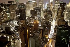 Manhattan skyline. Skycrapers and towers in manhattan skyline view at night Royalty Free Stock Image