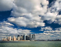 Manhattan Skyline. Outstanding skyscrapers from the New York Bay Stock Photo