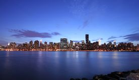 Manhattan skyline. Wide angle view at twilight Stock Photos