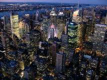 Manhattan Skyline. View of the Manhattan skyline at dusk as viewed from the Empire State Building Stock Photography