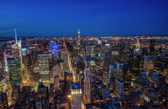 Manhattan skyline from above at dusk, New York City Royalty Free Stock Photography