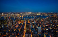 Manhattan skyline from above at dusk, New York City Royalty Free Stock Images