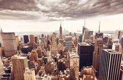 Manhattan skyline aerial view Stock Images