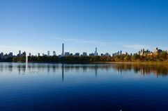 Panorama of Manhattan skyline as seen from Central Park Reservoir Royalty Free Stock Image