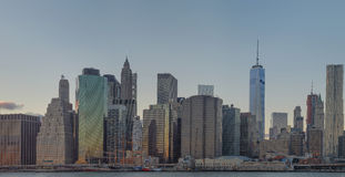 The Manhattan Skyline as seen from the East River in Brooklyn Royalty Free Stock Image