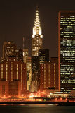 Manhattan Skyline At Nights Royalty Free Stock Image