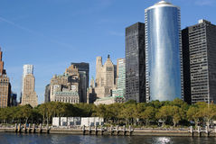 Manhattan Skyline from Battery Park Stock Photo