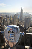 Manhattan Skyline & Binoculars New York City Stock Photos