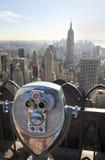 Manhattan Skyline & Binoculars New York City stock photos