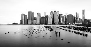 Manhattan skyline, black and white photo, view from Brooklyn, New York, USA stock photos