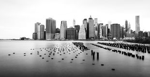 Manhattan  skyline, black and white, view from Brooklyn, New York, USA Royalty Free Stock Photography