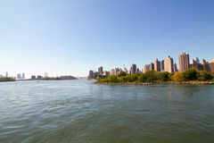 Manhattan skyline from a boat Stock Images
