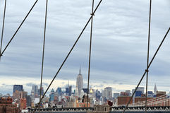Manhattan skyline from Brooklyn Bridge. NEW YORK - OCTOBER 18: View of Manhattan skyline from Brooklyn Bridge on October 18 2009 in Manhattan New York, USA stock photography