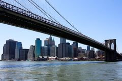 Manhattan skyline from Brooklyn bridge Stock Photography