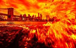 Manhattan skyline and Brooklyn Bridge stock images