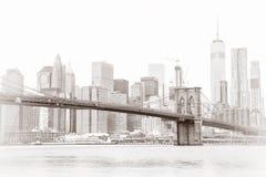 Manhattan skyline and Brooklyn Bridge Royalty Free Stock Photos