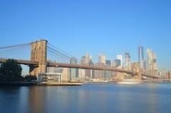 Manhattan. Manhattan skyline with Brooklyn Bridge - long exposure image Stock Photo