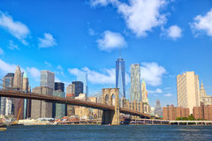 Manhattan skyline with Brooklyn Bridge Royalty Free Stock Image