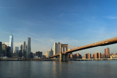 Manhattan skyline with Brooklyn Bridge. Stock Photography