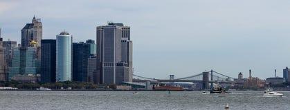 Manhattan Skyline and the Brooklyn Bridge, NYC. Stock Photo