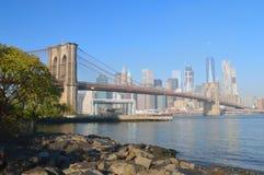 Manhattan. Manhattan skyline with Brooklyn Bridge at sunny day Royalty Free Stock Photography
