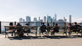 Manhattan skyline from Brooklyn Heights Promenade Stock Photo