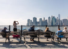 Manhattan skyline from Brooklyn Heights Promenade Royalty Free Stock Photography