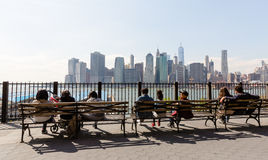 Manhattan skyline from Brooklyn Heights Promenade Royalty Free Stock Photo