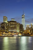 Manhattan Skyline From Brooklyn At Night Stock Photography