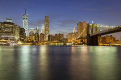 Manhattan Skyline From Brooklyn At Night Stock Photo