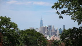 Manhattan Skyline from Brooklyn One World Trade Center stock video footage