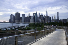 Manhattan Skyline from Brooklyn Squibb Park Bridge Stock Image