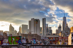 Manhattan Skyline Buildings at Sunset royalty free stock photo