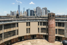 Manhattan Skyline and Castle Williams - Governors  Royalty Free Stock Image