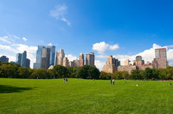 Manhattan skyline from the Central Park royalty free stock photography