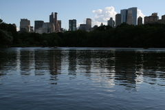 Manhattan Skyline from Central Park Lake Stock Photo