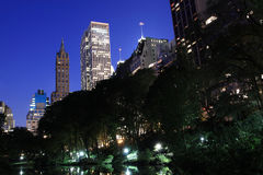Manhattan Skyline and Central Park at Night Royalty Free Stock Photo
