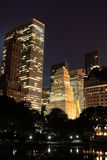 Manhattan Skyline and Central Park at Night Stock Photography