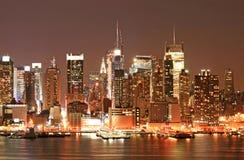 Manhattan Skyline at Christmas Eve Royalty Free Stock Photography