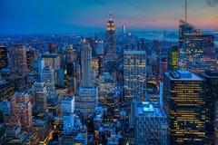 The Manhattan Skyline after dark Stock Photo