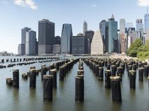 Manhattan skyline and docks in Brooklyn Stock Image
