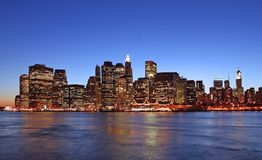 Manhattan skyline at dusk. Lower Manhattan skyline at dusk Royalty Free Stock Photos