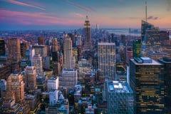 Manhattan Skyline at Dusk Stock Photos