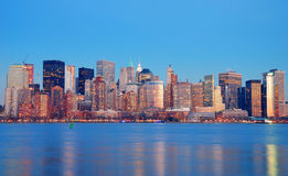 Manhattan Skyline at dusk, New York City Royalty Free Stock Photo