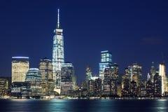 Manhattan skyline at dusk Royalty Free Stock Photos