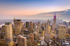 Manhattan Skyline at Dusk royalty free stock image